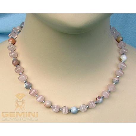 Rosenquarz Kette mit Botswanaachat und Perlen-Edelsteinketten