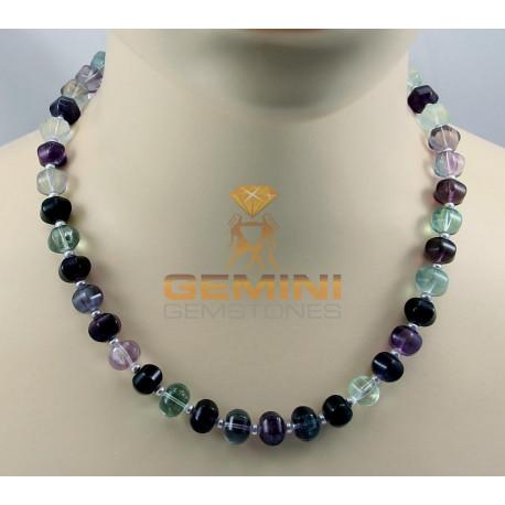 Fluorit Kette, Fluorit mit Perle, 50 cm-Edelsteinketten