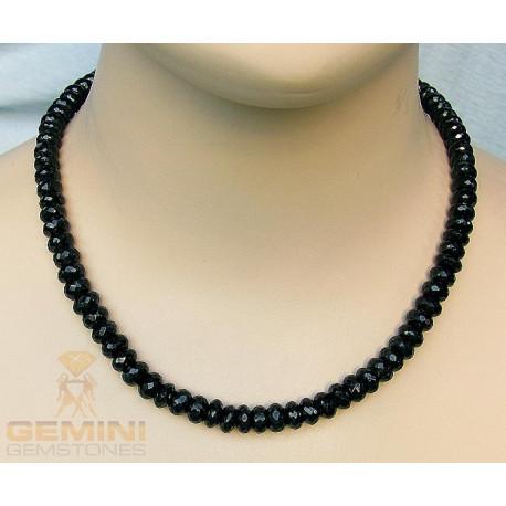 Spinell Kette schwarz facettiert 47 cm-Edelsteinketten