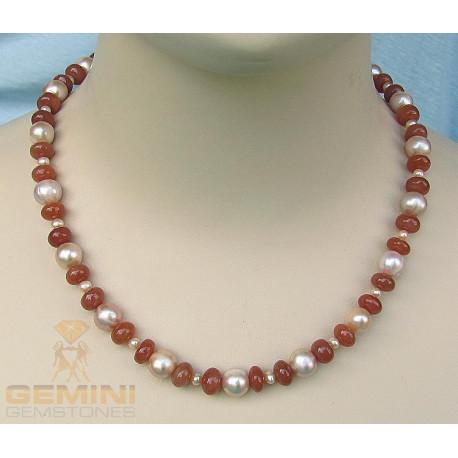 Mondstein-Kette rosa mit Perle 110 Karat-Edelsteinketten
