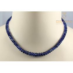 Disthen Kette - blaue Kyanit Rondelle - 43 cm lang
