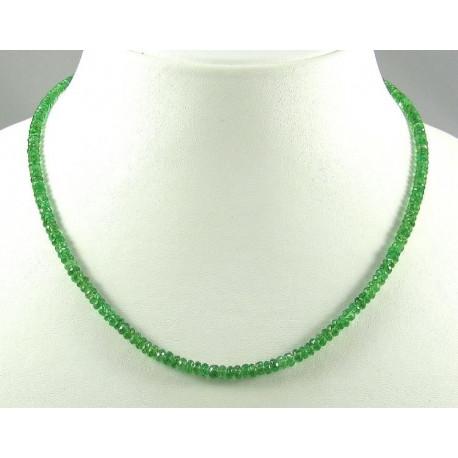 Tsavorit Kette grüne Granat Kette, facettierte Tsavorit-Granat Halskette 46 cm-Edelsteinketten