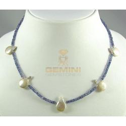 Iolithkette, facettierte Iolithe, Wassersaphir mit Perlen