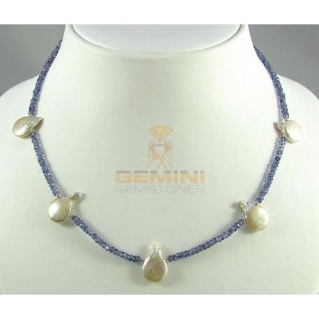 Iolithkette, facettierte Iolithe, Wassersaphir mit Perlen-Edelsteinketten